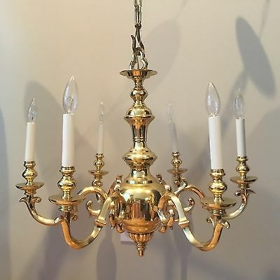 FREDERICK COOPER Brass Chandelier Ceiling Lamp Colonial Williamsburg Style