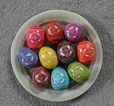 Ukrainian 10 Wooden Painted Easter Large Pysanka Pysanky Pisanka Chicken Size