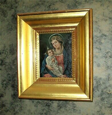 Russian Icon / Continental Antique Oil Painting , Madona, Virgin, Jesus 1800'S