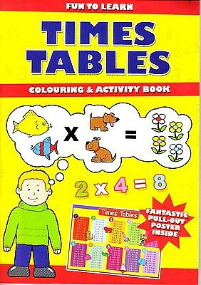Learn Times Tables Colouring & Activity Book pull-out poster For kids Children