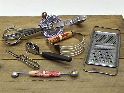 Vintage EKCO Utensil Lot - Beater Blender Grater Sharpener Peeler & Baller