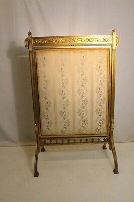 antique 19th c Arts & Crafts Fireplace Screen  Gold Leaf