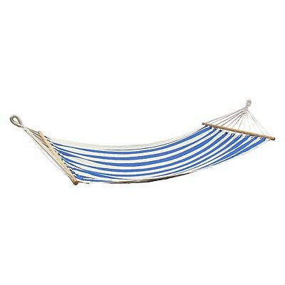 Blue & White 100% Cotton Hammock WITH Wooden Spreader Bar Camping Travel