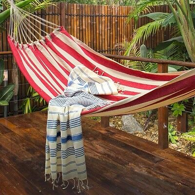 Large Red and White Stripe Cotton Hammock and Carry Bag Camping Travel Beach
