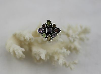 Multicolour Gemstone Ring with Solid 925 Sterling Silver Size M1/2 16.9mm
