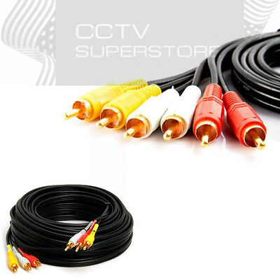 6FT 3-RCA (L + R + V) Composite AV Audio Video Cable Gold Plated Male M/M 6'