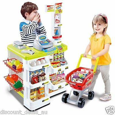 Kids Shop Supermarket Toy Pretend Play Store W/ Shopping Trolley Groceries NEW