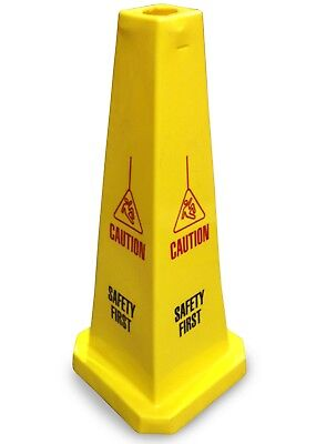 """JSP Lamba F-LA23809 Yellow 25"""" Safety Cone 'Caution Safety First' Slotted Type"""
