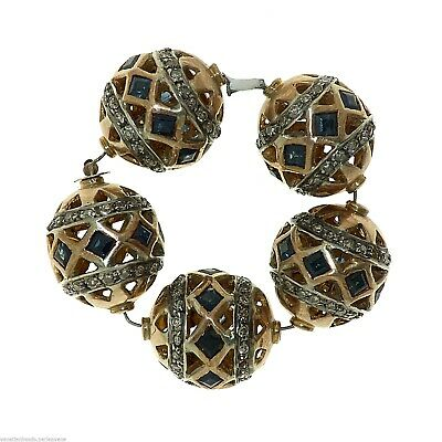 Antique Indian Element for Jewelry - Gold, Blue Sapphires and Diamonds - (1021)