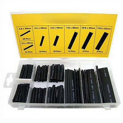 127pcs Black Heat Shrink Tube Assortment Wire Wrap Electrical Insulation Tech ED