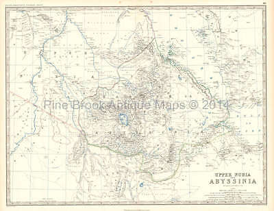 Upper Nubia Abyssinia Antique Map Johnston 1861 Original