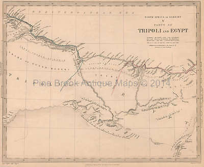 Tripoli Egypt Antique Map SDUK 1837 Original