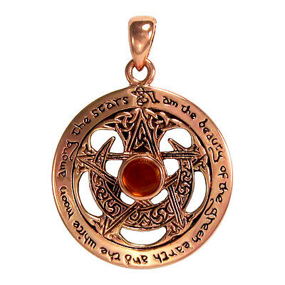 Pentacle with Amber Large Copper Cut Moon Pendant - Wicca Witch Pagan
