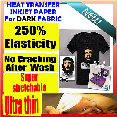 10x A4 T-Shirt Heat Transfer Inkjet Paper, Dark Color Cotton & polyester Garment