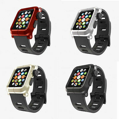 Genuine Aluminum Case & Silicone Wrist Band Strap For Apple Watch iWatch 38/42mm