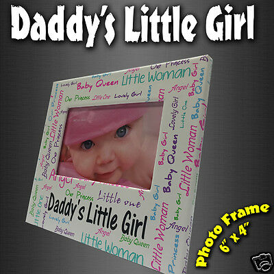 Daddys little Girl Photo Frame New Born Word Collage Birth Christening  Gift