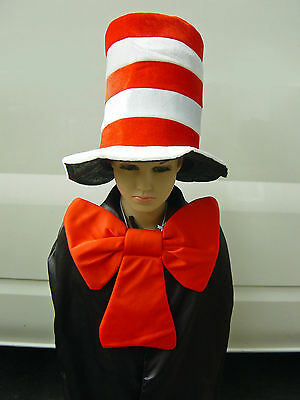 Kids Size - Dr Seuss Stripe Cat in the Hat Costume Hat and Bow Tie Fancy Dress