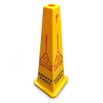 """JSP CLOFF1201 Yellow 35"""" (90cm) Safety Cone 'Safety First' Keyhole Type"""