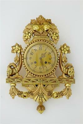 20Th Century Swedish Gilt Carved Ornate Wall Clock By Westerstrand