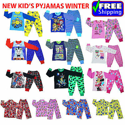 New Size 1~12 Kids Pyjamas Winter Pj Pjs Boys Sleepwear Shirt Paw Patrol Minion