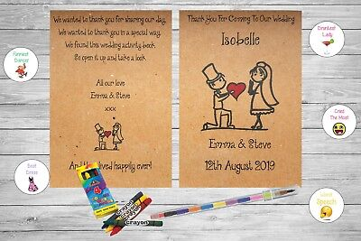 Personalised Childrens Wedding Activity Pack Book Favour Rustic Vintage AB15
