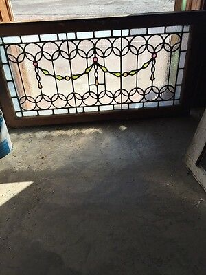 Sg 659 Antique Transom Glass Window Unusual Jewels