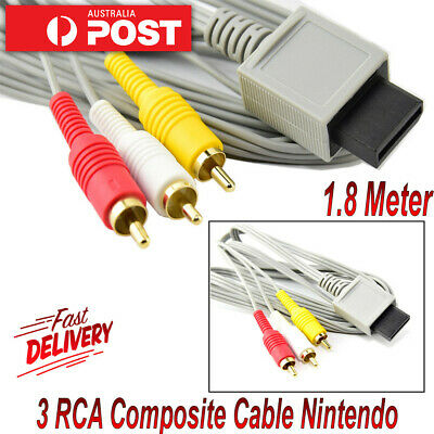Audio Video 3 RCA Composite Cable AV Lead for Nintendo Wii Wii U & Mini Console