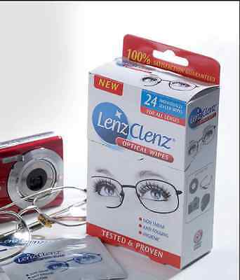 24 Lens Cleaning Wipes Glasses Sunglasses Camera lenses Magnifiers Mirror Glass
