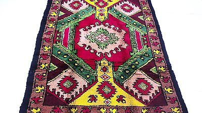 "Antique European vintage handmade hand-knotted thick rug 63"" x 83"" 100%wool #313"