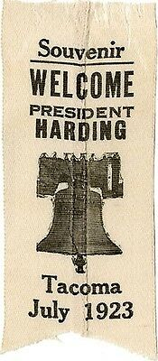 July 1923 Tacoma WA Warren Harding Pacific Tour Welcome Ribbon (3832)