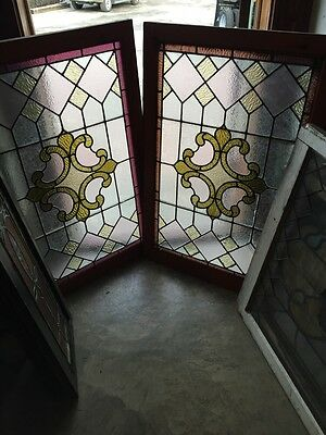 Sg 671 Two Available Antique Stained Glass Textured Windows Price Each