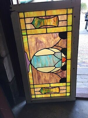 "Sg 675 Antique Transom Stainglass Window 25"" X 44 And Three-Quarter Inch"