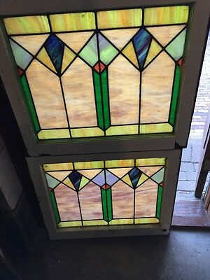 Sg 679 Two Available Priced Each Antique Deco Stainglass Window