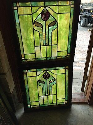 Sg 681 Two Available Price Separate Antique Stainglass Landing Window