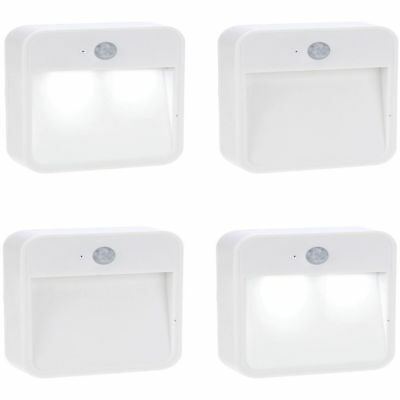 4pk Battery Wireless LED Motion Sensor Automatic Auto Indoor Night Light Lamp