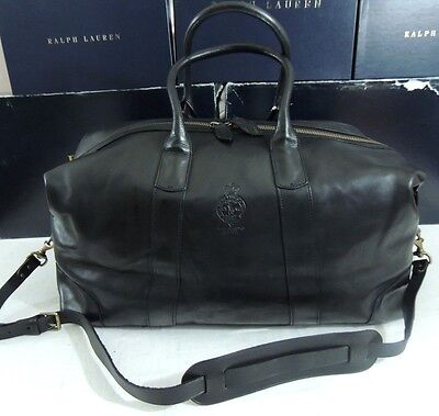 $598 Polo Ralph Lauren Pony Leather Travel Carryall Carry on Duffle Luggage Bag