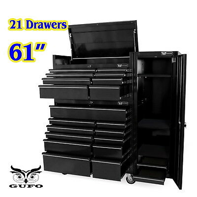 "Gufo 61"" Roller Cabinet 21 Drawer Tool Box Chest Trolley Shed Garage Storage Blk"