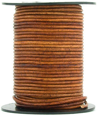 Xsotica® Brown Distressed Light Round Leather Cord 2mm 25 meters (27 yards)