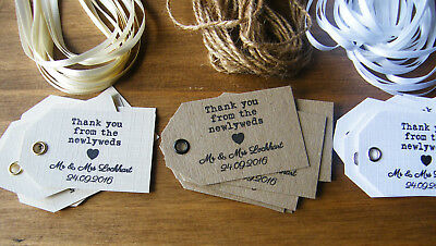 Personalised Wedding Newlywed Thank You Favour Tags -Vintage Kraft/White/Ivory