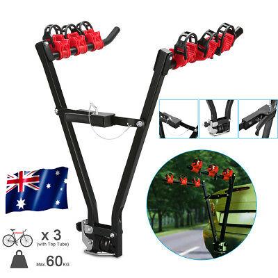 """2"""" inch 3 Bike Bicycle Car Carrier Rack Rear Hitch Tow Ball Mount Steel Foldable"""