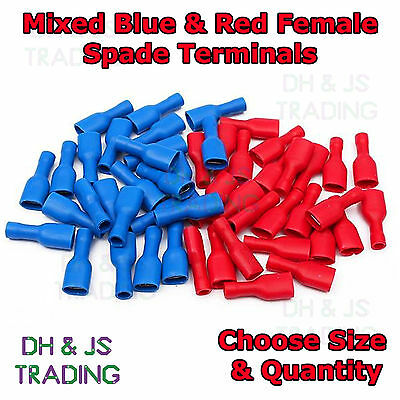 Mixed Fully Insulated Female Spade Terminals Blue And Red Crimp Connector Mix