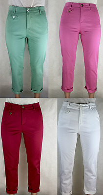 Ex M&S Ladies Roma Rise Cropped Stretch Chino Size 6-24 Marks Spencer UK Per Una