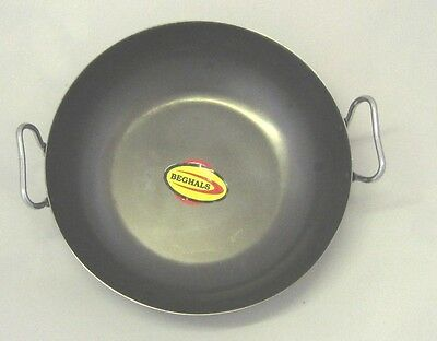 Asian Indian Curry/Balti Black Iron Rustic Wok/Karahi Cooking/Serving Wit Handle