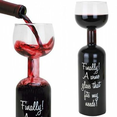 Wine Bottle Glass - 750 Ml With Each Refill (A Whole Bottle of Wine!!) wine glas