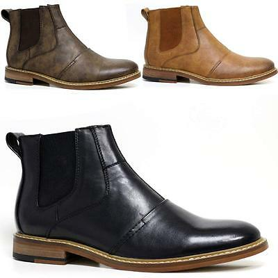 Mens Leather Chelsea Boots Smart Formal Ankle Army Military Combat Shoes Size