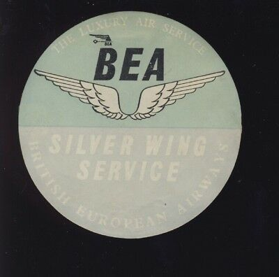 Original Uk .bea Silver Wing Luggage Lable