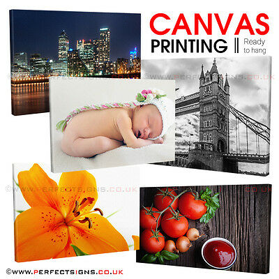 """CANVAS Print 30""""x 12"""" Personalised Photo Custom Picture Printing 18mm Box Frame"""