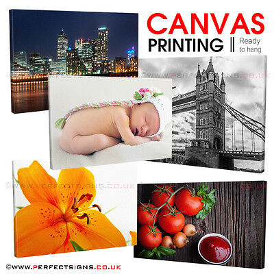 """CANVAS Print 20""""x 12"""" Personalised Photo Custom Picture Printing 18mm Box Frame"""
