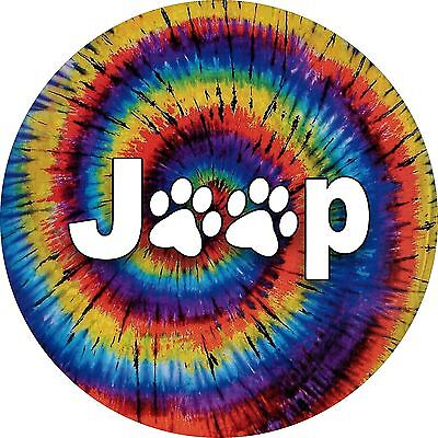 Jeep Paws Tie Dye spare Tire Cover / Wheel Cover (all sizes available)