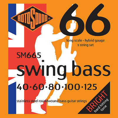 ROTOSOUND SM665 SWING BASS STAINLESS STEEL BASS STRINGS, HYBRID GAUGE 5's 40-125